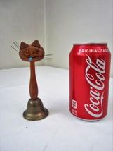 Scarce Vintage Handbell Super Cute ART DECO Wooden Kitty Cat Brass Bell ... - $35.63