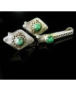 Vintage sterling Turquoise Cufflinks Silver Israel Etruscan Tieclip anni... - $295.00