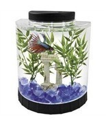 Fish Tank Tetra Half Moon Desk Table Top Office Home Room Aquarium 1.1 G... - $42.52 CAD