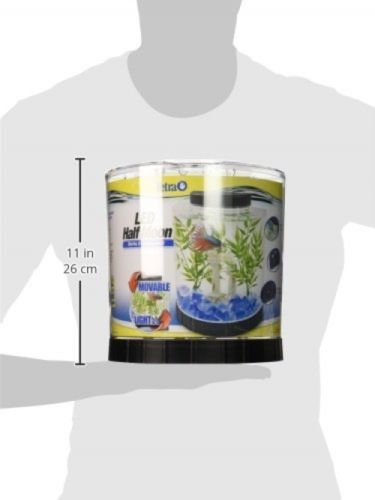 Fish Tank Tetra Half Moon Desk Table Top Office Home Room Aquarium 1.1 Gallon