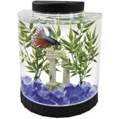 Fish Tank Tetra Half Moon Desk Table Top Office Home Room Aquarium 1.1 Gallon