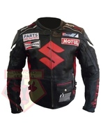 SUZUKI ICON BLACK MOTORBIKE SPORTS BIKE COWHIDE LEATHER MOTORCYCLE JACKET - $194.99