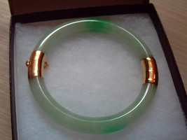 Antique Natural Chinese Green Jadeite Jade Bangle Bracelet 14K Solid Yel... - $2,300.98