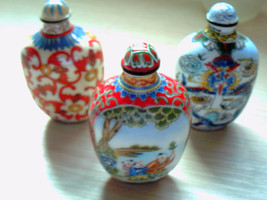3 Pieces Chinese Qing Dynasty Hand Draw Brass Cloisonne Snuff Bottles - $270.00