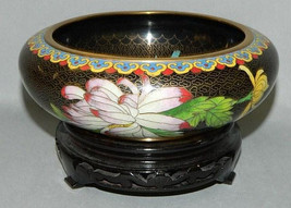 Cloisonne bowl on wooden stand - $383.19