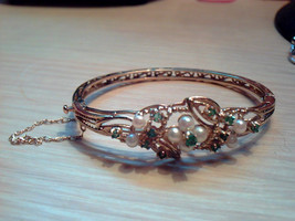 vintage beautiful 9ct GOLD PEARL & EMERALD ornate flower Bangle - $1,080.00