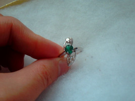 Antique 14K White Gold Ring Emerald 3/4 CT and Diamond 2/3 CT - $1,020.00