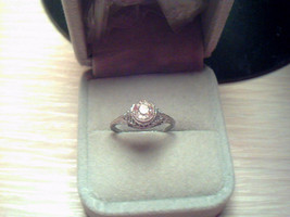 Spectacular Art Deco Sterling Filigree Paste Diamond Solitaire Ring - $320.00
