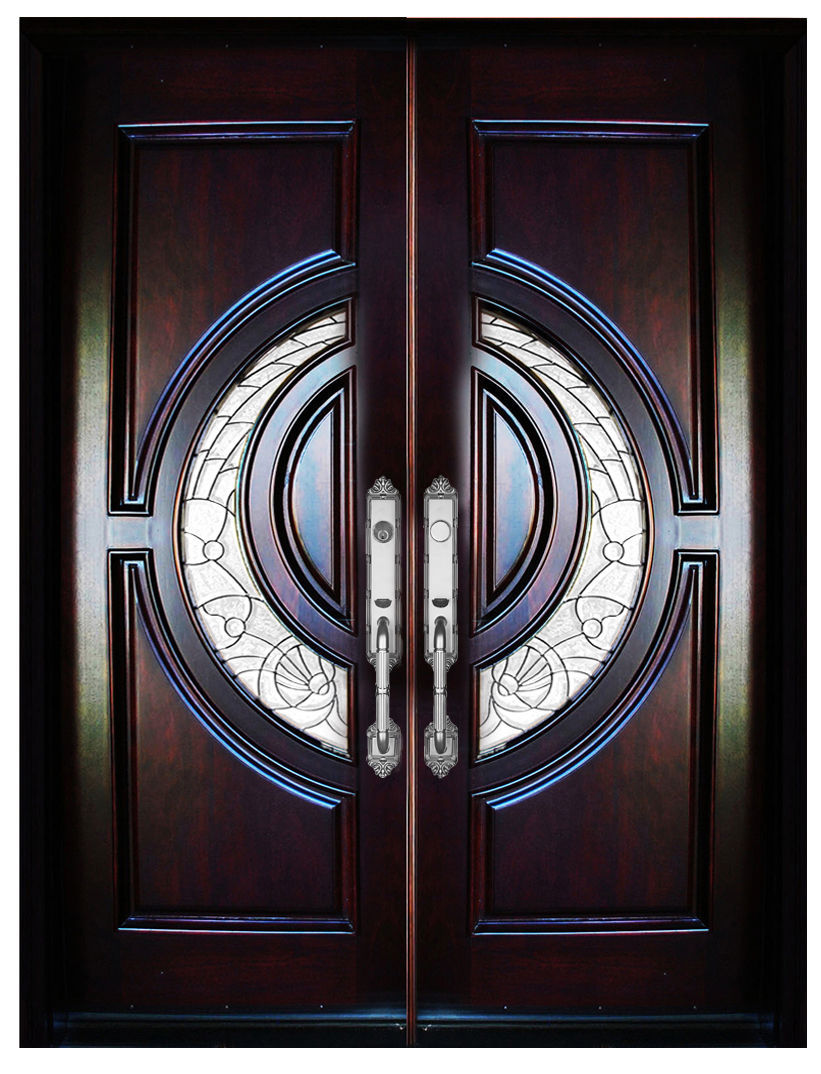 Mahogany double exterior front entry wood door 580e 32 x80 for Double door house entrance