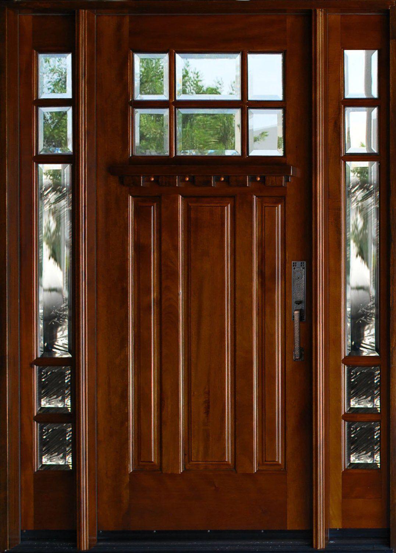 Exterior Mahagany Front Wood Entry Door Huntington 1D