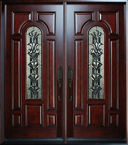 "Double Wooden Front Doors: Exterior Front Entry Double House Wood Door M280A 30""x 80"