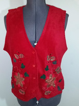 Red X-Mas Embroidered Fleece Button Up Sweater Vest Size = XL New with Tags - $12.95