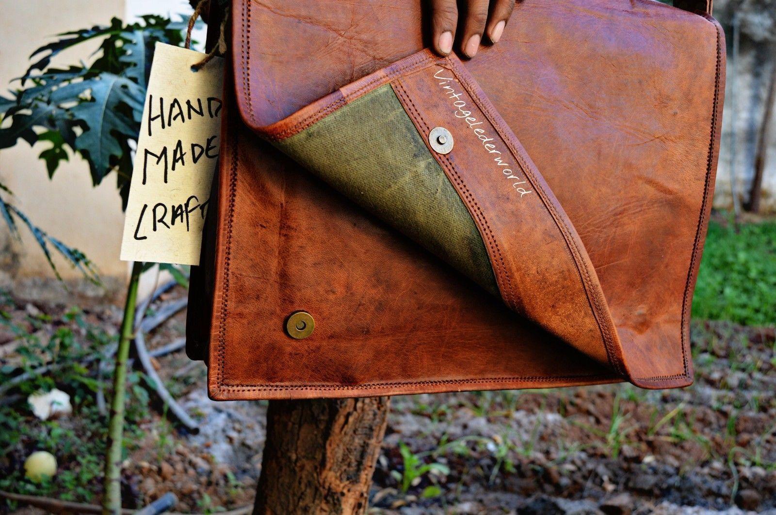 Genuine Vintage Leather Messenger Shoulder Laptop Bag Leather Bag handmade craft