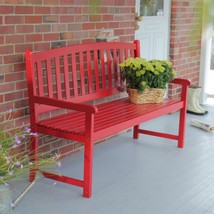 5-Ft Outdoor Garden Bench in Red Wood Finish with Armrest - $364.10