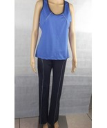 New Women's Sport tight leggings pants Gym Workout Gray & Blue w matchin... - $16.83