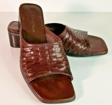 Cole Haan Size 9 B City Tan Brown Leather Basket Weave Slide Sandals Career - $22.76