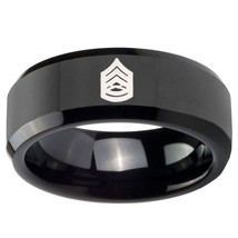 Army Sergeant Major 8mm Black Beveled Tungsten Carbide Ring - $39.99