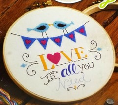 Stamped Embroidery Kit Love Is All You Need Birds Bucilla New WM47643E - $8.99