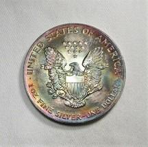 1993 American Silver Eagle Dollar 1oz .999 Silver w/ Rainbow Color AI738 - $53.15