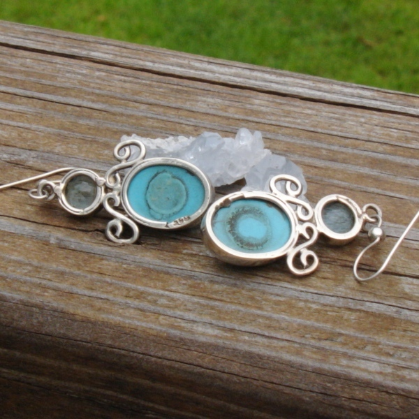 Sleeping Beauty Turquoise and Blue Topaz Earrings