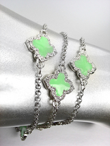 18kt White Gold Plated Chains Green Enamel Clover Clovers CZ Crystals Br... - €17,49 EUR