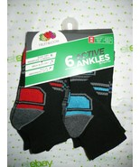 Fruit of The Loom Boys Active Ankle Socks 6 Pair Size MEDIUM 9-2.5 NEW B... - £11.39 GBP