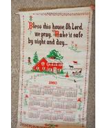 1960 vintage UNUSED CALENDAR TOWEL sampler print BLESS THIS HOUSE WE PRA... - $34.95