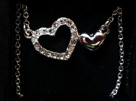Loving Hearts Necklace w/ Rhinestones - Silver Tone (Double Hearts) - $12.49