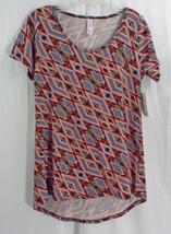 Womens LuLaRoe Classic T Shirt XS Black Red Blue Peach Diamond Abstract NWT - $33.65