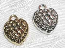 HEART BASKET WEAVE DESIGN FINE PEWTER PENDANT CHARM - 11mm L x 15mm W x 5mm D
