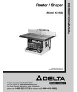 Delta Router/Shaper Manual , Model No. 43-505 - $10.88