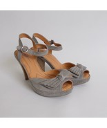Baron Crown Womens Open Toe Shoes High Heels Gray Suede Bows Size 8 - $49.49