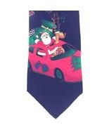 Hallmark Christmas Tie Santa & Reindeer in Sports Car Black w/Graphic 10... - $24.14