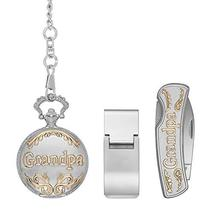 Grandpa Silver and Gold Toned Pocket Watch Money Clip Pocket Knife Gift Se - $39.59