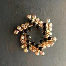 Vintage Pinwheel Brooch Black Beads AB Aurora Borealis Rhinestones 1950-60s - $15.83