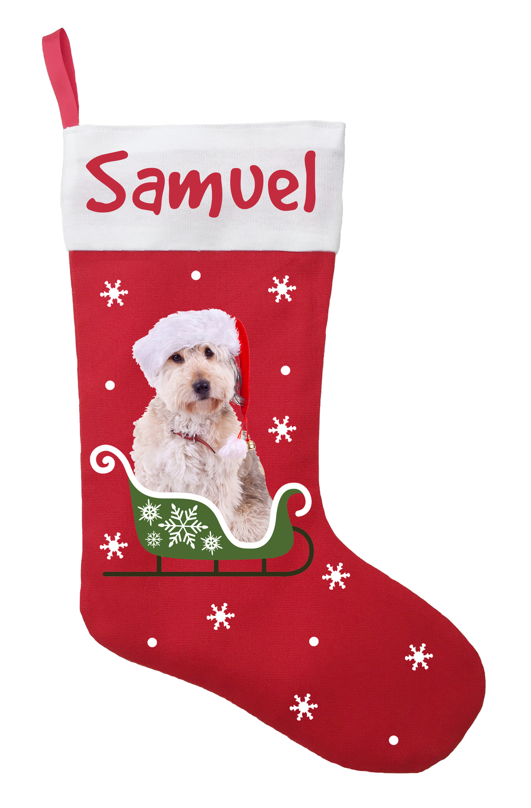 Doodle Dog Christmas Stocking - Personalized and Hand Made Doodle Stocking - Gre