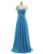 Plus Size Beaded Blue Chiffon Formal Bridesmaid Dress One Shoulder Prom Dresses  - $65.00