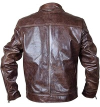 Vintage Motorcycle Copper Rub Off Classic Distressed Brown Biker Leather Jacket image 4
