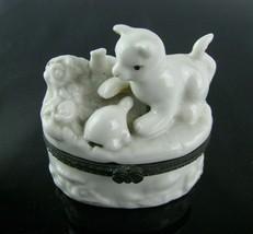 Tabby Cat Kitten & Turtle in Garden Porcelain Hinged Trinket Box Magnet ... - $14.80