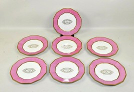 "Set  7 Limoges Coiffe Pink Monogram Gilt 8 5/8"" Luncheon  Plates - $150.00"