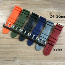 24 26mm Orange Black Green Red Gray Blue Silicone Rubber For Panerai Watchbands - $27.91+