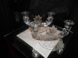 2 FOSTORIA AMERICAN CRYSTAL GLASSWARE DOUBLE FOOTED CANDLEHOLDER CANDLES... - $13.99
