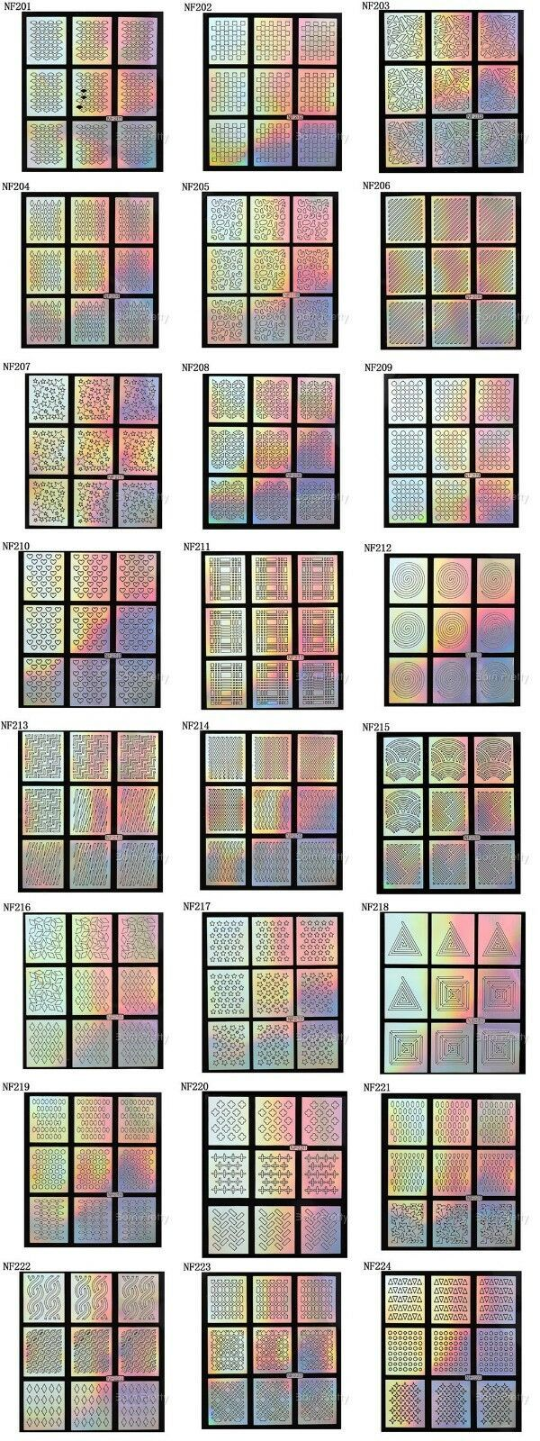 24 Sheets Laser Nail Art Guide Tips Hollow Stencil Sticker Template Vinyls Decor image 3