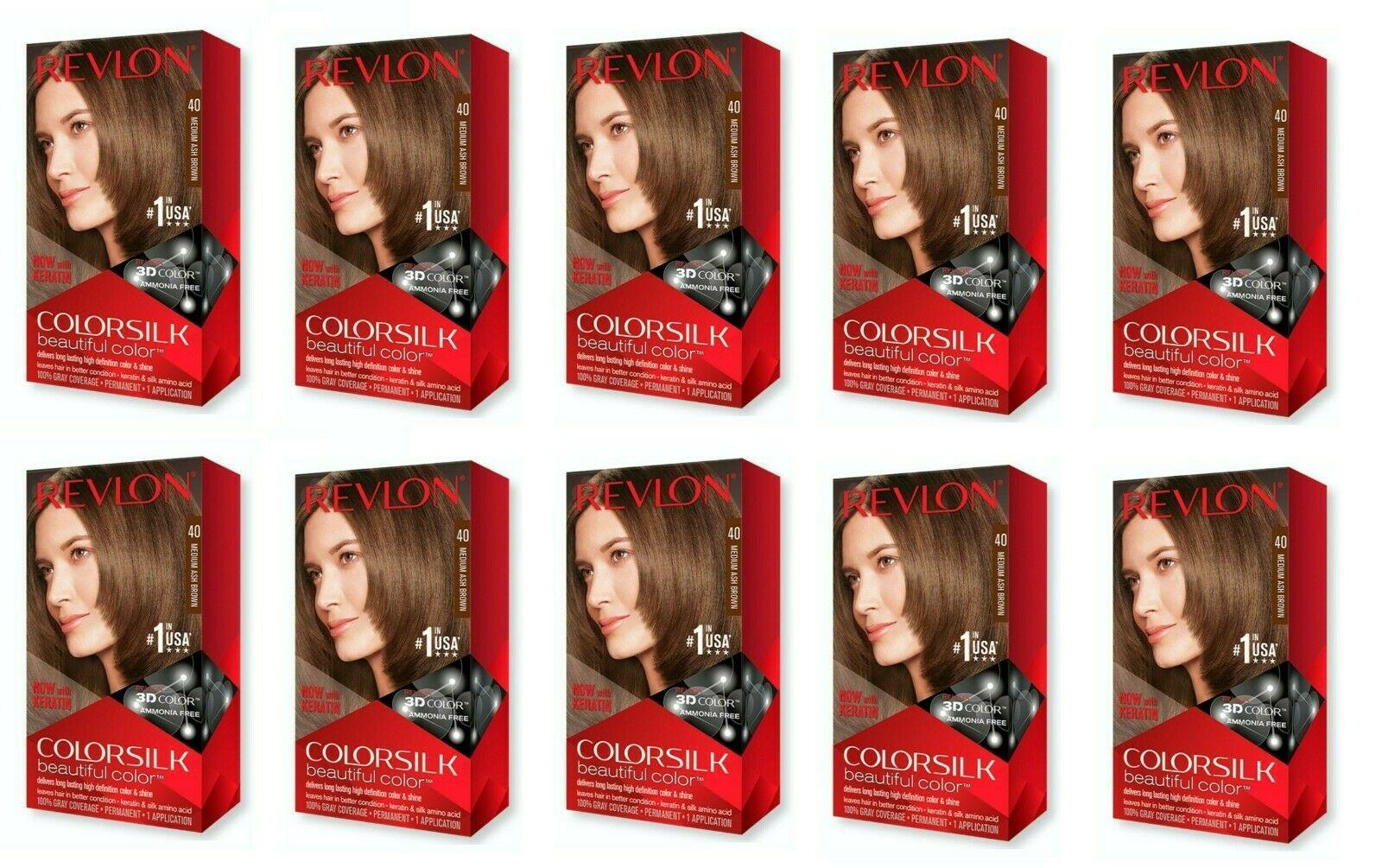 REVLON COLORSILK Beautiful Color Permanent Hair Dye #40 Medium Ash Brown 10 PACK - $44.99