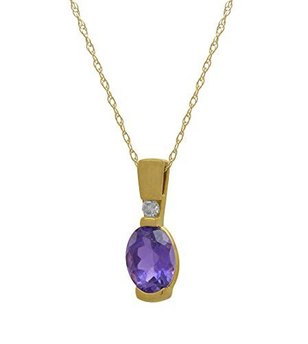 14 k Yellow Gold Genuine Amethyst Diamond Pendant