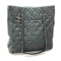 AUTHENTIC CHANEL Matelasse Quilted CC Tote Bag Chain Shoulder Bag Black - $1,310.00