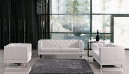 VIG Divani Casa Windsor White Eco Leather Tufted Sofa Set 3Pcs