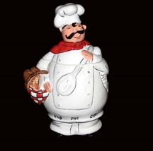"Gourmet HUG THE CHEF Tastiest Cookies Around Hndpntd 12"" Cookie Jar DISC... - $48.99"