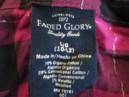 Girls magenta & black plaid button up shirt Size 10-12 By Faded Glory  MMYSP07 - $8.67