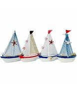 Waroom Home Decorative Wooden Sailboat Model 4 Pack, Handmade Vintage Na... - $18.73